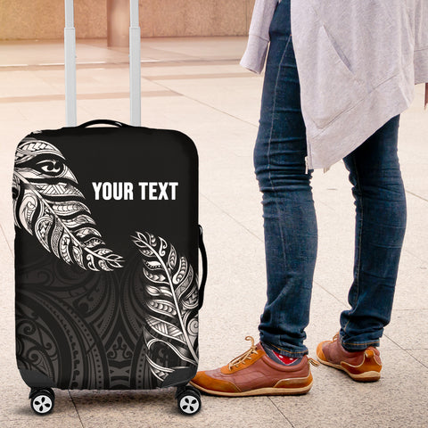 1stTheWorld Custom Aotearoa New Zealand - Maori Silver Fern Luggage Covers Black A10