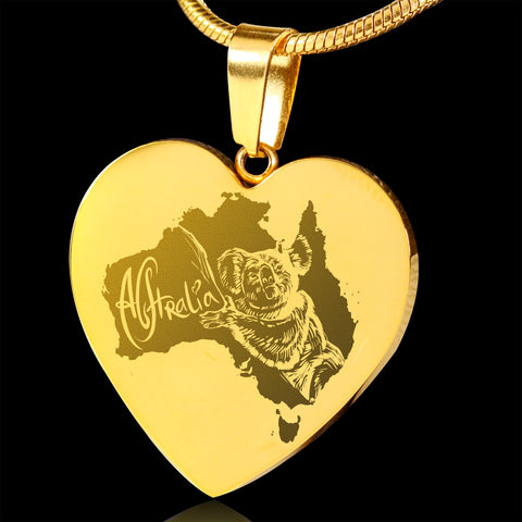 Image of Australia Koala 18K Gold-Plated Heart Engraving Necklace JT6