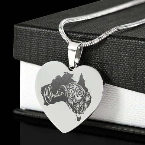 Image of Australia Merino Ram Stainless Steel Engraved Necklace