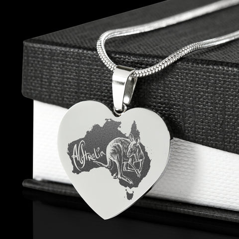 Image of Australia Kangaroo Stainless Steel Engraved Necklace