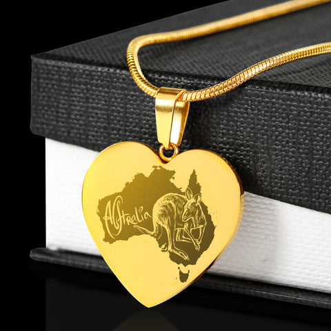 Australia Kangaroo 18K Gold-Plated Heart Engraving Necklace