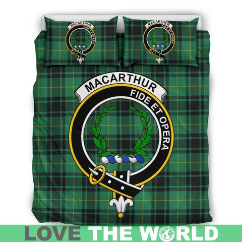 Image of Macarthur Ancient Tartan Clan Badge Bedding Set Ha9 Bedding Set - Black Black / Queen/full Sets