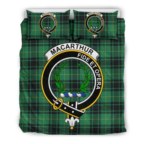Image of Macarthur Ancient Clan Badge Tartan Bedding Set Ha9 Bedding Set - Black Black / Queen/full Sets