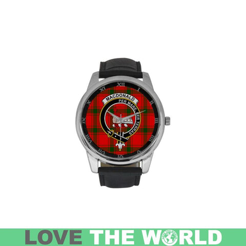 Macdonald Of Sleat Tartan Clan Badge Watch S9 One Size / Golden Leather Strap Watch Luxury Watches