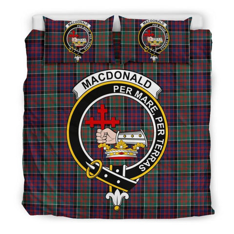Macdonald Clan Badge Tartan Bedding Set C19 Bedding Set - Beige / King Sets