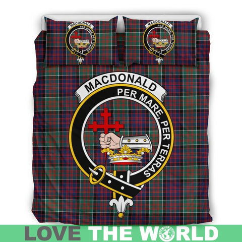 Image of Macdonald Tartan Clan Badge Bedding Set C19 Bedding Set - Beige / King Sets