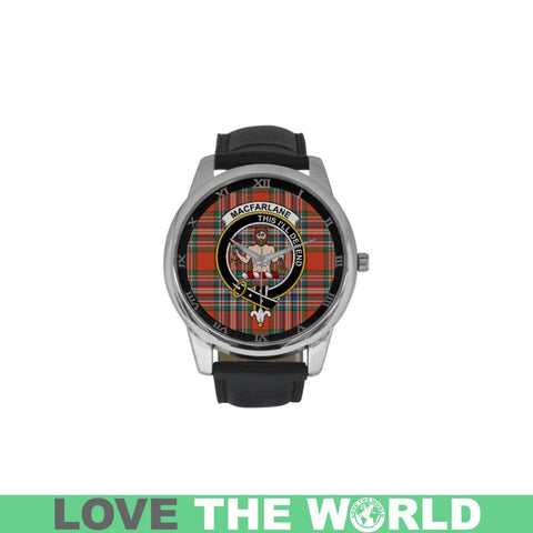 Macfarlane Ancient Tartan Clan Badge Watch S9 One Size / Golden Leather Strap Watch Luxury Watches