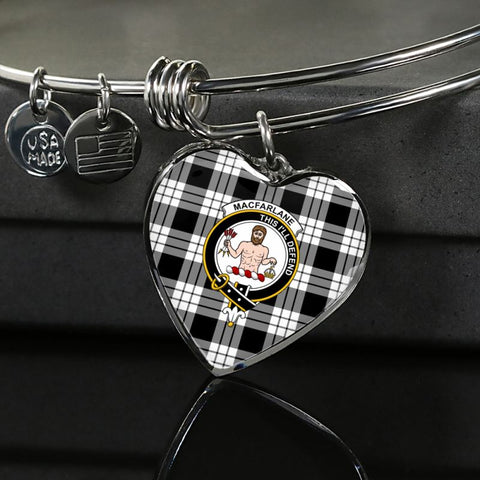 Macfarlane Black & White Tartan Silver Bangle - M8 Luxury Bangle (Silver) Jewelries