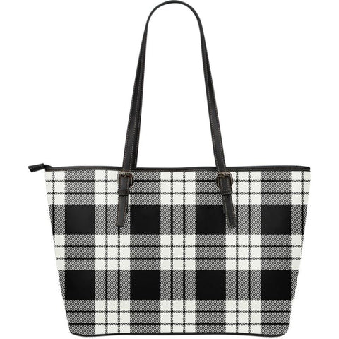 Macfarlane (Mcfarlane) Black & White Ancient Tartan Handbag - Large Leather Tartan Bag Th8 |Bags| Love The World