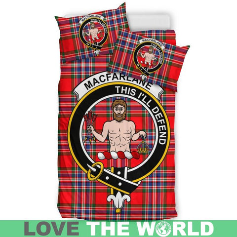 Macfarlane Modern Tartan Clan Badge Bedding Set Ha9 Bedding Set - Black Black / Queen/full Sets