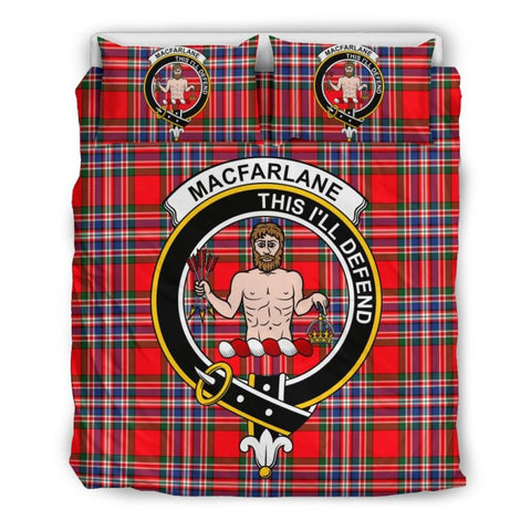 Macfarlane Modern Clan Badge Tartan Bedding Set Ha9 Bedding Set - Black Black / Queen/full Sets