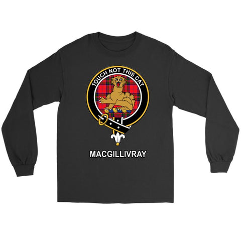 Image of Macgillivray Clan Tartan Shirt A2 Gildan Long Sleeve Tee / Black S T-Shirts