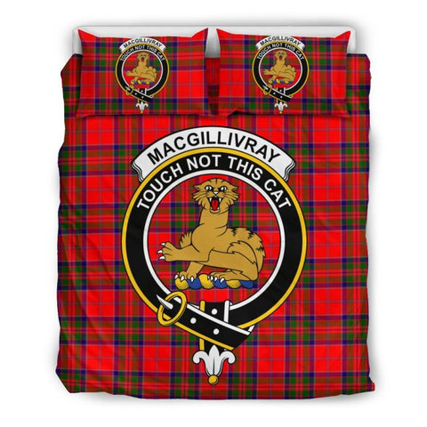 Image of Macgillivray Modern Clan Badge Tartan Bedding Set Ha9 Bedding Set - Black Black / Queen/full Sets
