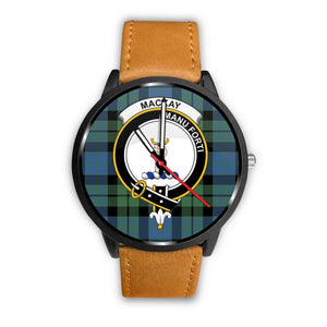 Mackay Ancient Clan Badge Tartan Leather/steel Watch - NN5 Mens 40Mm / Brown Leather-Steel Watches