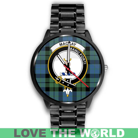 Mackay Ancient Clan Badge Tartan Leather/steel Watch - NN5 Mens 40Mm / Brown Watches