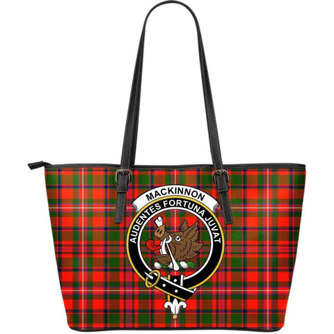Mackinnon (Mckinnon) Modern Tartan Handbag - Clan Badge Large Leather Tartan Bag