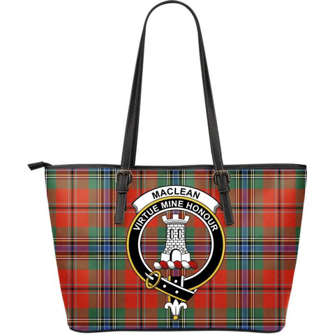 Maclean (Mclean) Of Duart Ancient Tartan Handbag - Clan Badge Large Leather Tartan Bag