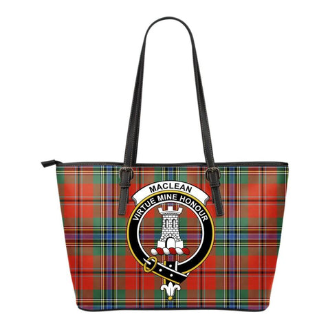 Maclean (Mclean) Of Duart Ancient Tartan Clan Badge Small Leather Tote Bag C20 Totes