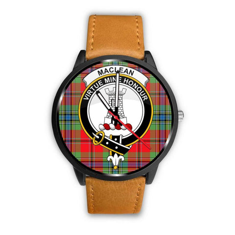 Maclean Of Duart Modern Clan Badge Tartan Leather/steel Watch - NN5 Mens 40Mm / Brown Leather-Steel