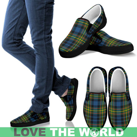 Image of Maclellan Ancient Tartan Slip Ons Mens Slip Ons - White / Us8 (Eu40)