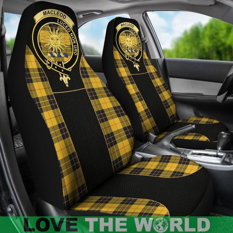 Image of Maclellan Of Lewis Ancient Tartan Clan Badge Golden Car Seat Covers E5