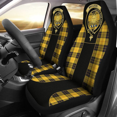 Image of Maclellan Of Lewis Ancient Tartan Car Seat Cover - Golden Clan Badge