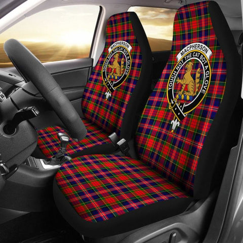 Image of Macpherson Tartan Car Seat Cover - Clan Badge