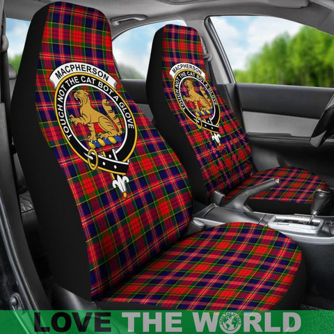 Image of Macpherson Clan Badges Tartan Car Seat Cover Ha5