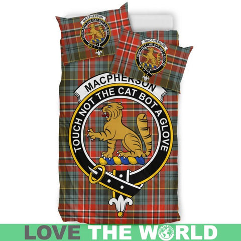 Macpherson Weathered Tartan Clan Badge Bedding Set C19 Bedding Set - Black / King Sets