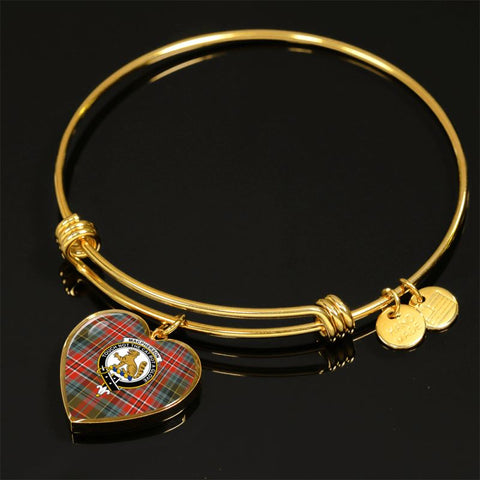 Macpherson Weathered Tartan Golden Bangle - Tn Adjustable Bangle Jewelries