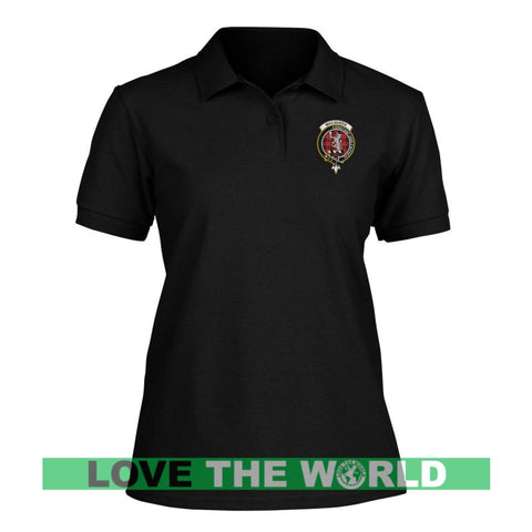 Macqueen Badge Women Tartan Polo Shirt | Over 300 Clans Tartan | Special Custom Design | Love Scotland