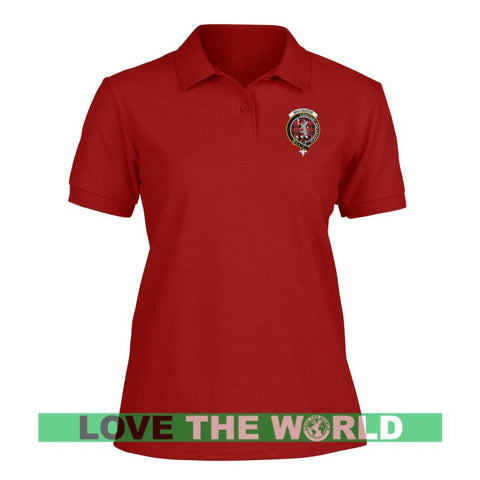 Image of Macqueen Badge Women Tartan Polo Shirt | Over 300 Clans Tartan | Special Custom Design | Love Scotland