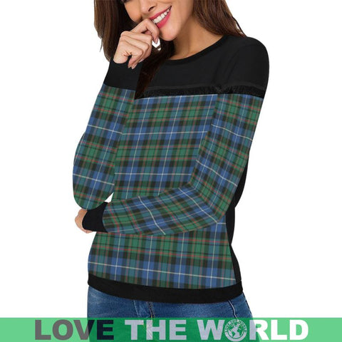 Macrae Hunting Ancient Tartan Women's Fringe Detail Sweatshirt Nn5 |Clothing| 1sttheworld
