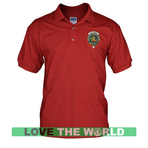 Image of Macthomas Badge Men Tartan Polo Shirt | Over 300 Clans Tartan | Special Custom Design | Love Scotland