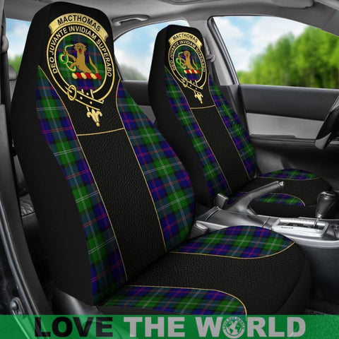 Image of Macthomas Modern Tartan Clan Badge Golden Car Seat Covers E5