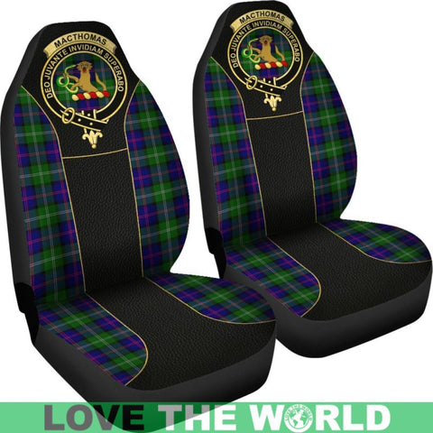 Macthomas Modern Tartan Clan Badge Golden Car Seat Covers E5