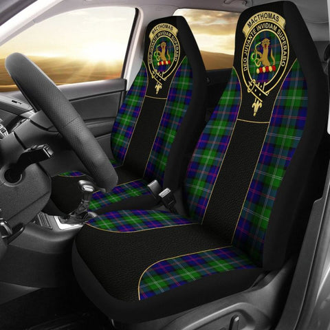 Image of Macthomas Modern Tartan Car Seat Cover - Golden Clan Badge