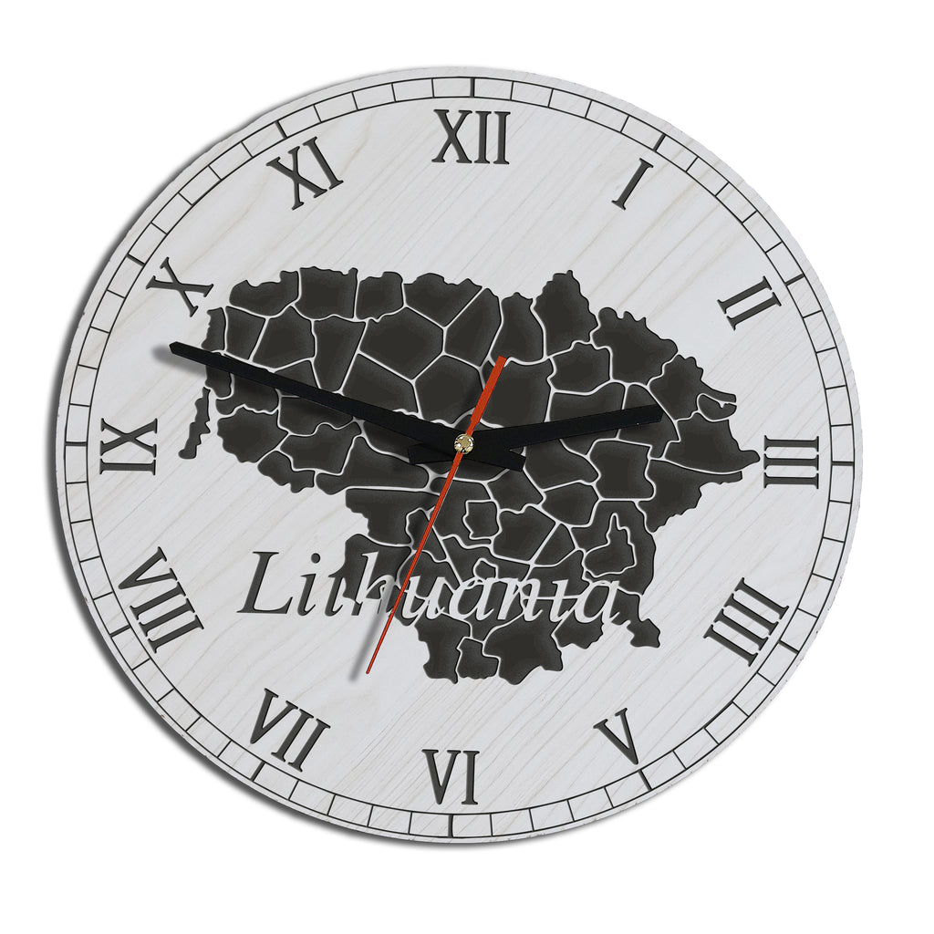 Lithuania map wooden wall clock 1sttheworld lithuania map wooden wall clock hover to zoom gumiabroncs Gallery