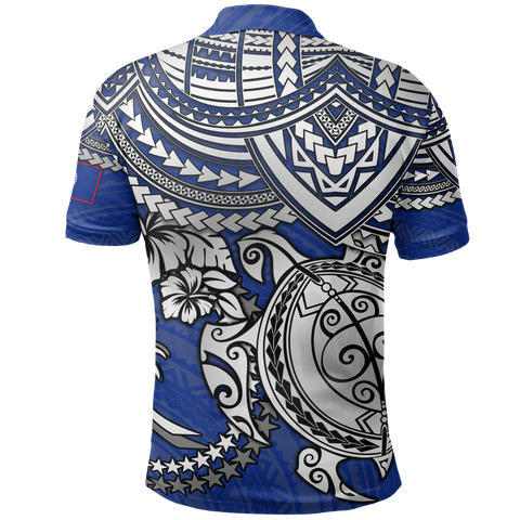 Chuuk Polynesian Polo Shirt  - White Turtle (Blue) - BN1518