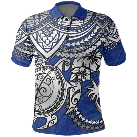 Chuuk Polynesian Polo Shirt  - White Turtle (Blue)