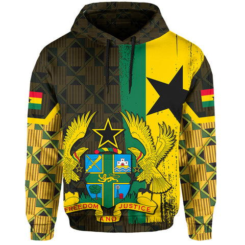 Ghana Coat Of Arm Kente Hoodie - J4