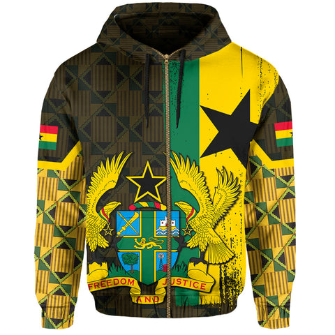 Ghana Coat Of Arm Kente Hoodie (Zip-up) - J4