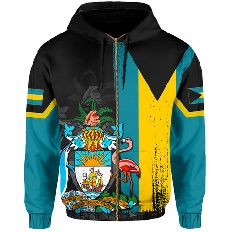 Bahamas Flag Coat Of Arm Hoodie (Zip-up) - J4
