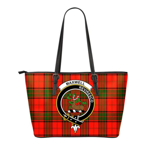 Maxwell Modern Tartan Clan Badge Small Leather Tote Bag C20 Totes