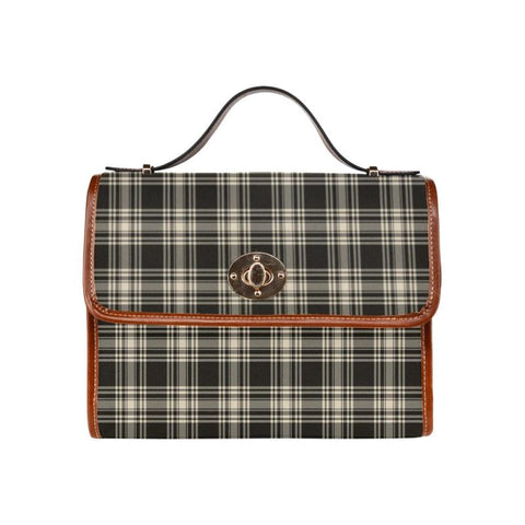 Menzies Black - White Ancient Tartan Canvas Bag | Waterproof Bag | Scottish Bag