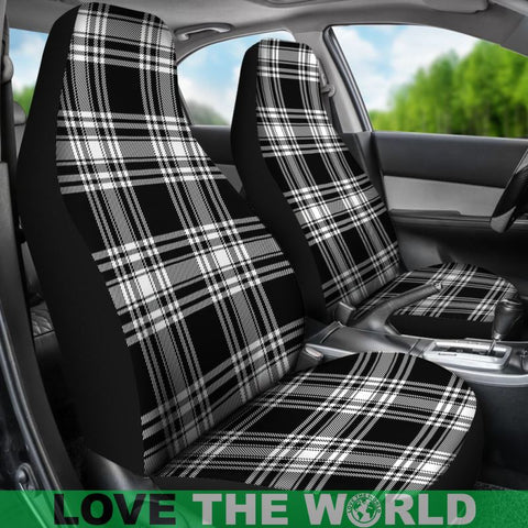 Image of Menzies Black _ White Modern Tartan Car Seat Cover Nl25