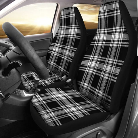 Menzies Black _ White Modern Tartan Car Seat Cover
