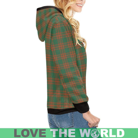Image of Menzies Green Ancient Tartan High Neck  Hoodie - Bn |Clothing| 1sttheworld