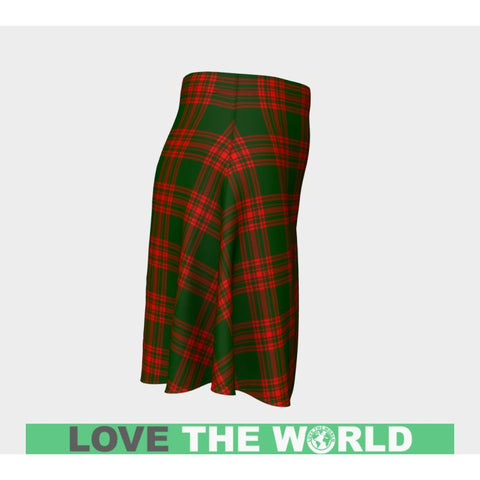 Image of Tartan Skirt - Menzies Green Modern Women Flared Skirt A9 |Clothing| 1sttheworld