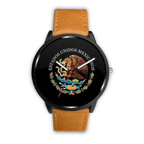 Mexico Coat Of Arms (Black) Leather/steel Watch - M7 Mens 40Mm / Brown Leather-Steel Watches